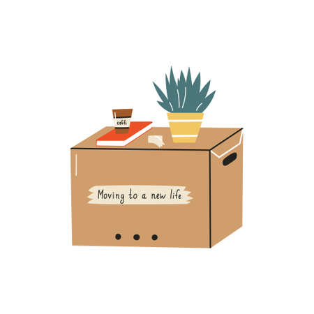 Moving in relocation, furniture and cardboard boxes with personal accessories vector. Containers with things. Vector illustration.