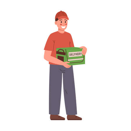 A young courier delivers an order to the client s house. Cartoon vector illustration isolated on white background 矢量图像