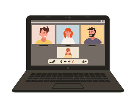 Online chat on a computer over the Internet. Remotely. Conference video call, work at home