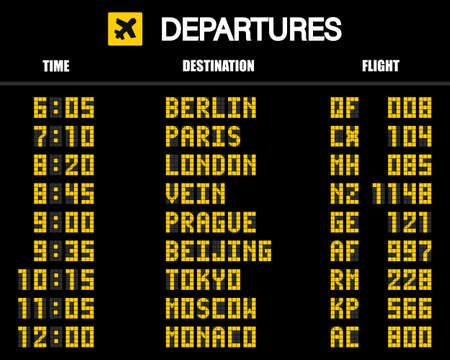 Airport scoreboard according to the mechanical schedule. Vector illustration.