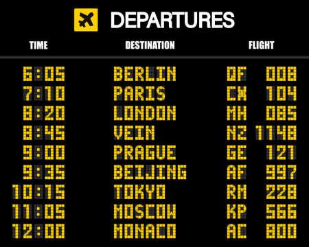 Tableau de bord de l'aéroport selon l'horaire mécanique. Illustration vectorielle.