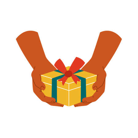 Gift box in hand on a white isolated background. The icon. Present. Vector illustration.