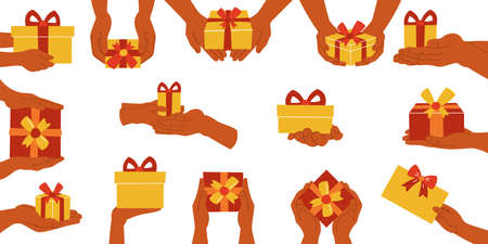 Set of gift boxes in hands on a white isolated background. Icon. Icons. Vector illustration