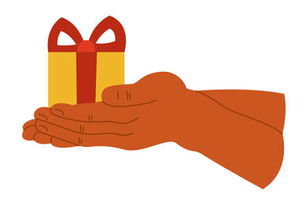 Gift box in hand on a white isolated background. The icon. Present. Vector illustration