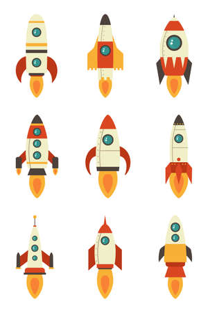 Set of rockets on a white isolated background. Vector illustration eps 10