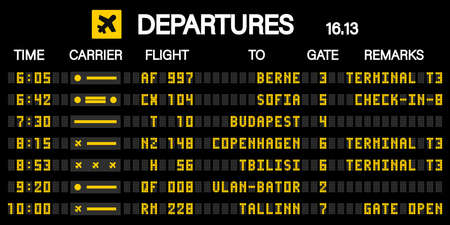 Airport scoreboard according to the mechanical schedule. Vector illustration