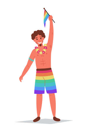 Gay, parade. LGBT people hold a rainbow flag. Vector illustration on a white isolated background
