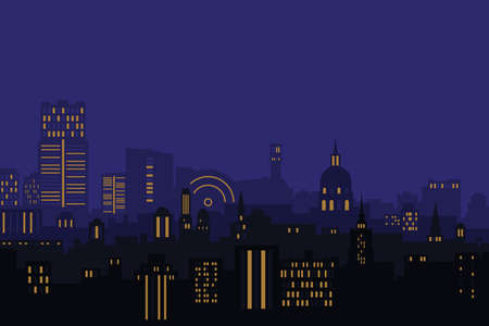Vector illustration. Night city, houses high-rise buildings