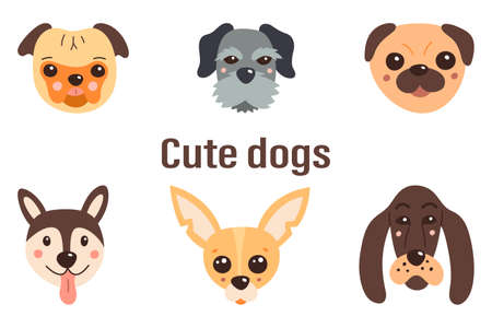 Set of cute dogs. Vector illustration on a white isolated background.