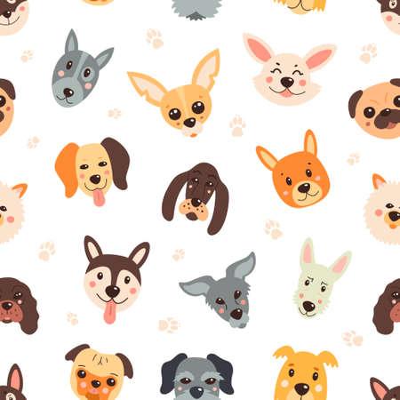 Pattern, dogs, cartoony childish funny Vector seamless background