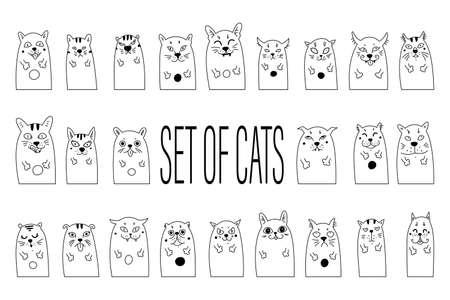 Vector illustration of cat set for greeting card design, t-shirt print, inspiration poster 矢量图像