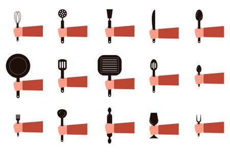 Hands hold dishes, spoons, forks. Flat concept illustration restaurant and kitchen utensils. Vector elements for web design, social networks and food infographics 矢量图像