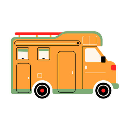 Colorful RV camper. The Way Home Trailer. Recreational car. Holiday trip concept. Mobile home for out-of-town recreation and outdoor recreation. Vector illustration on bnlom isolated background 矢量图像