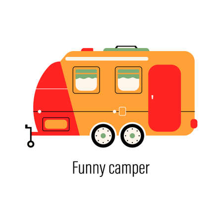 Colorful camper. Entertainment car. Mobile home for out-of-town recreation and outdoor recreation. Vector illustration on isolated background