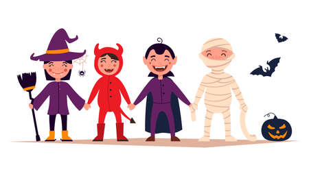 Happy Halloween. Set of cute cartoon kids in colorful Halloween costumes: witches, dragula, mummy, devil. Set of cartoon icons for kids Halloween design. vector and illustration