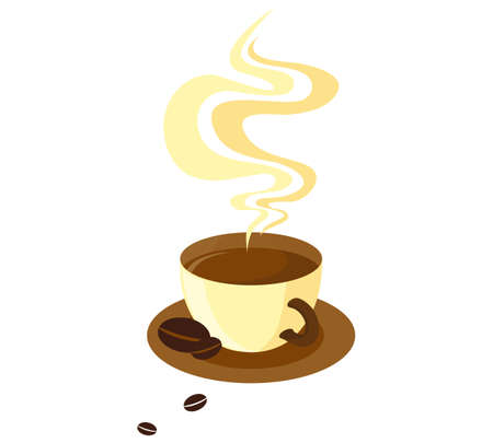 Milk cup of coffee with steam coffee beans are next. Vector illustration.