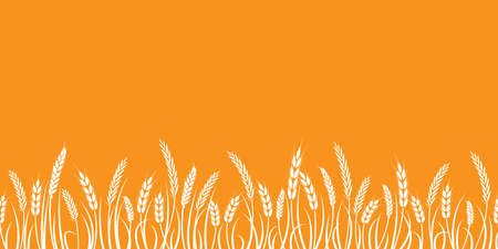 Vector silhouette of wheat. Silhouette. Wheat in the field on a white background