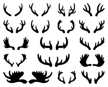 Silhouette of deer and elk antlers. Horns. Vector illustration on white isolated background
