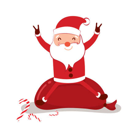 Santa claus on white background. Vector illustration for retro christmas card