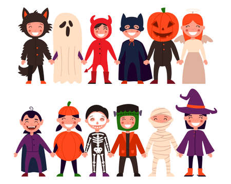 Set of children. Halloween, childrens party, or kids in a Halloween costume. Vector illustration on white isolated background