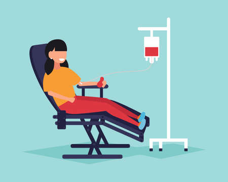 A girl gives blood sitting in a medical chair, giving blood. Donated blood. Vector illustration