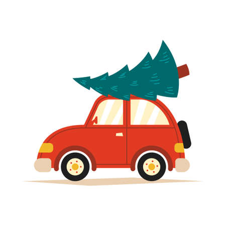 Vector illustration of a red car with a Christmas tree on the roof on a white isolated background