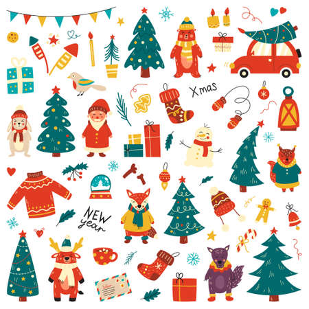 Christmas set, hand drawn style - calligraphy, animals and other elements. Vector illustration 矢量图像