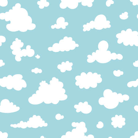 Seamless pattern of clouds on the blue sky. Pattern. Vector illustration Ilustrace