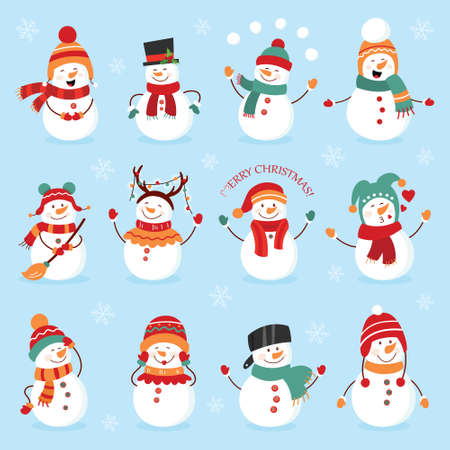 Set of winter holidays snowman. Cheerful snowmen in different costumes. Snowman chef, magician, snowman with candy and gifts