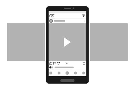 Smartphone with carousel interface post on social network