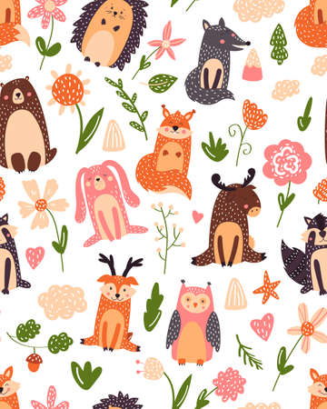 Vintage floral seamless pattern with forest animals bear, fox, owl, rabbit.