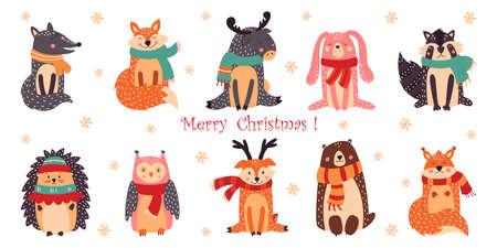 Set of cute Christmas design elements with woodland animals Ilustrace