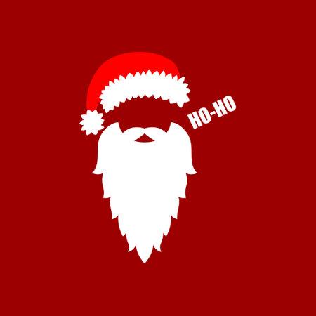 Santa Claus hat and beard. Vector illustration Ilustrace