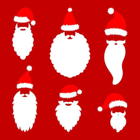 Santa Claus hat and beard. Vector illustration. Happy Holidays