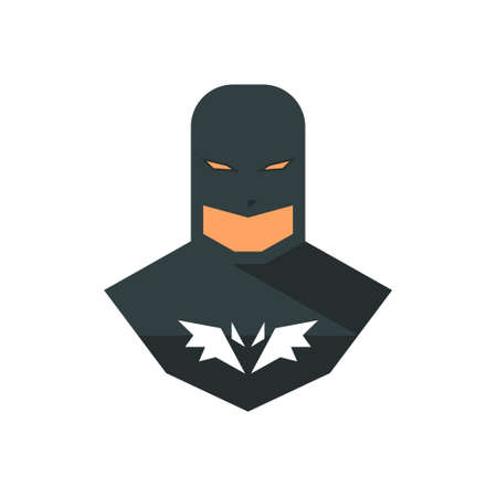 Superhero, avatar, icons in sticker style. Vector illustration on white isolated background