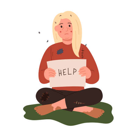 A homeless woman is sitting on the grass with a help sign. Ilustrace