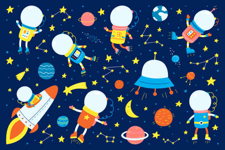 Space and astronauts with planets. Set of flat icons. Vector illustration. Children s pictures