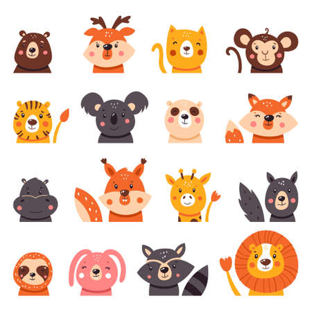 Large collection of cute cartoon animals. Big set of icons. Vector illustration isolated on white background