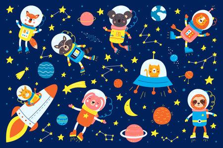 Set of cute animals astronauts, rockets, satellite, UFO, stars in space, vector illustrations in cartoon style. Cartoon animal astronauts, cat, fox, koala, lion, raccoon, giraffe, hare, sloth