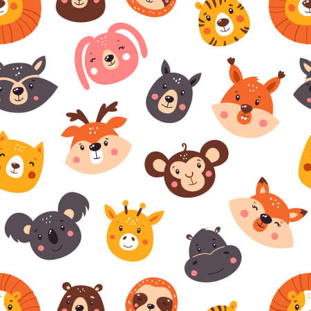 Forest seamless pattern with cute animals. Pattern. Vector illustration isolated on white background. Ilustrace
