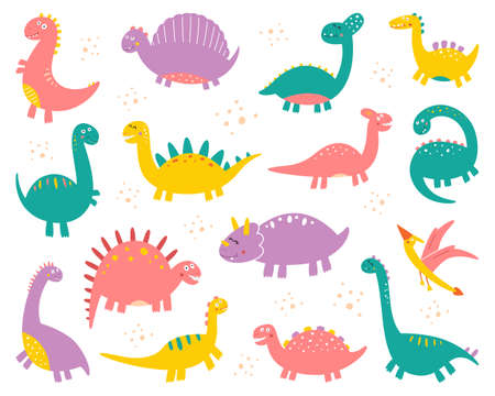 Vector collection of cute flat dinosaurs, including T-rex, Stegosaurus, Velociraptor, Pterodactyl, Brachiosaurus and Triceratop, isolated on white