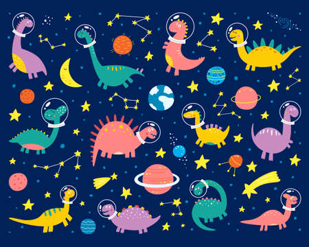 Space dinosaurs in a spacesuit are flying into space. Trendy grunge texture or print for kids design. Vector illustration