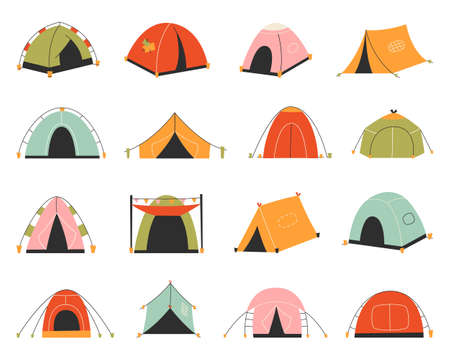 Set of tourist tents. Vector illustration - collection of camping tent icons Ilustrace