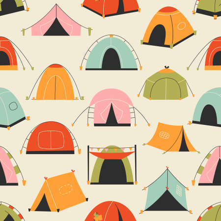 Set of tourist tents. Pattern. Vector illustration - collection of camping icons
