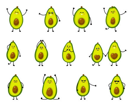 Illustration of a cute avocado in different poses and with different emotions. Vector illustration on white isolated background Ilustrace
