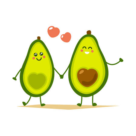 Cute cartoon avocado couple holding hands, Valentine s day greeting card. Avocado love with hearts vector illustration