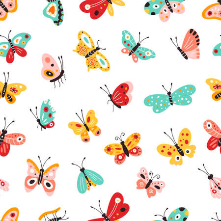 Set of different colored butterflies. Pattern. Vector illustration.
