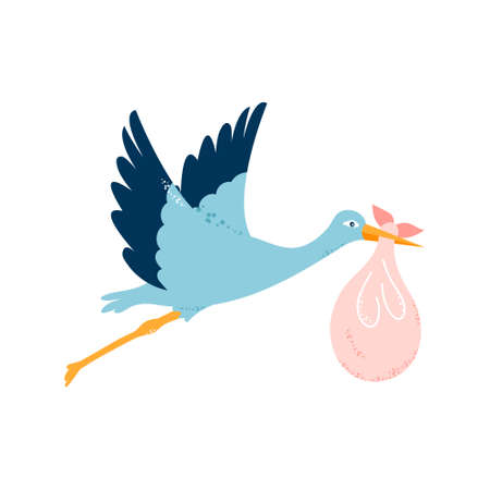 Baby card. The stork is carrying a child. Vector illustration on white isolated background Ilustrace