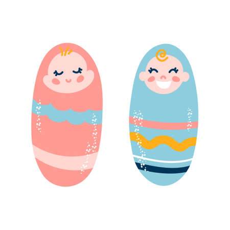 Little boy and girl. Adorable babies on a white isolated background in diapers Ilustrace