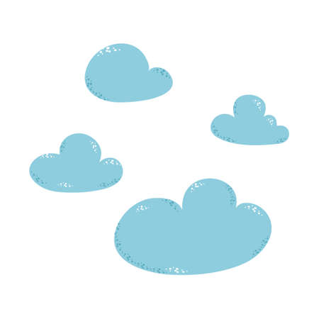 Vector illustration of collection of clouds on a white background.